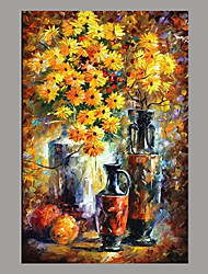 cheap -Hand-Painted Floral/Botanical Horizontal Panoramic,Simple Rustic Modern Canvas Oil Painting Home Decoration One Panel