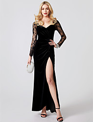 cheap -Mermaid / Trumpet V Neck Ankle Length Jersey / Sheer Lace See Through / Minimalist Cocktail Party / Formal Evening / Holiday Dress with Appliques / Split Front / Pleats 2020 / Illusion Sleeve