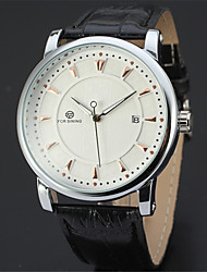 cheap -FORSINING Men's Wrist Watch Automatic self-winding Leather 30 m Calendar / date / day Cool Analog Casual Fashion - White / Silver Rose Gold / White Black / Rose Gold