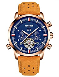 cheap -Men's Casual Watch Fashion Watch Skeleton Watch Automatic self-winding Genuine Leather Black / Brown Water Resistant / Waterproof Calendar / date / day Chronograph Analog Luxury Classic Casual - Blue