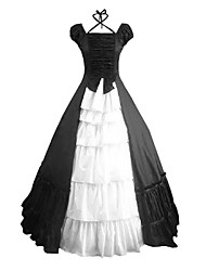 cheap -Rococo Victorian 18th Century Dress Party Costume Masquerade Women's Cotton Costume Black Vintage Cosplay Party Prom Short Sleeve Floor Length Plus Size Customized