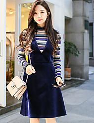 abordables -Femme Rétro Sortie Coton Pullover - Couleur Pleine / Rayé, Couleur métalique brillante / Tricot Mao