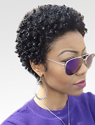 cheap -Human Hair Capless Wigs Human Hair Afro / Kinky Curly Short Hairstyles 2019 Halle Berry Hairstyles African American Wig Short Machine Made Wig Women's