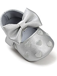 cheap -Girls' Comfort / First Walkers / Crib Shoes Leatherette Flats Infants(0-9m) Bowknot / Magic Tape White / Black / Purple Spring / Fall