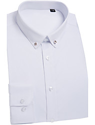 cheap -Men's Wedding Party Work Basic / Chinoiserie Shirt - Solid Colored White