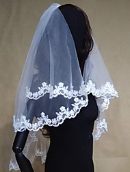 cheap -Two-tier Modern Style / Modern Contemporary / Wedding Wedding Veil Elbow Veils with Appliques / Lace Lace / Tulle / Angel cut / Waterfall