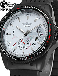cheap -WINNER Men's Wrist Watch Automatic self-winding Silicone Black 30 m Calendar / date / day Analog Vintage Casual Fashion Cool - White