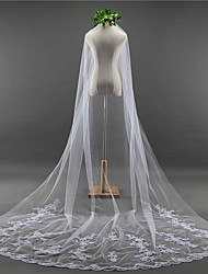 cheap -One-tier Lace Applique Edge / Elegant & Luxurious Wedding Veil Chapel Veils with Appliques / Embroidery Lace / Tulle / Classic