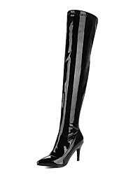 cheap -Women's Boots Over-The-Knee Boots Stiletto Heel Pointed Toe Patent Leather / PU Thigh-high Boots Fashion Boots Fall / Winter Black / White / Red / Party & Evening