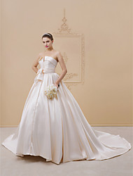 cheap -Ball Gown Strapless Cathedral Train Lace / Satin / Tulle Strapless Open Back Made-To-Measure Wedding Dresses with Bow(s) / Buttons / Sashes / Ribbons 2020