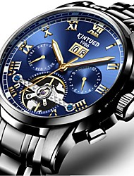 cheap -KINYUED Men's Dress Watch Skeleton Watch Mechanical Watch Automatic self-winding Luxury Water Resistant / Waterproof Black / Gold Black / Blue White / Blue / Stainless Steel / Calendar / date / day