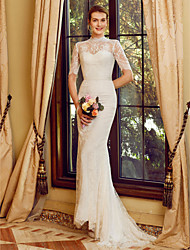 cheap -Mermaid / Trumpet High Neck Sweep / Brush Train All Over Lace Half Sleeve See-Through / Beautiful Back Made-To-Measure Wedding Dresses with Appliques / Sashes / Ribbons 2020 / Illusion Sleeve
