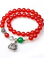 cheap -Women's Onyx Bead Bracelet Wrap Bracelet Simple Vintage Agate Bracelet Jewelry Red For Gift Prom