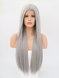 cheap -Synthetic Lace Front Wig Straight Straight Lace Front Wig Long Grey Synthetic Hair Women's Gray