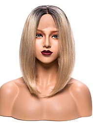 cheap -Synthetic Lace Front Wig Straight Straight Bob Lace Front Wig Blonde Short Black / Gold Synthetic Hair Women's Blonde EEWigs