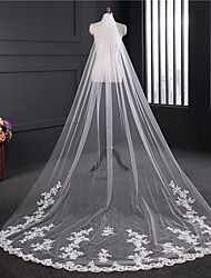 cheap -One-tier Lace Applique Edge / Elegant & Luxurious Wedding Veil Chapel Veils with Embroidery / Appliques Tulle / Classic