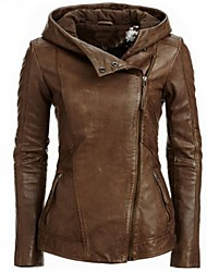 cheap -Women's Daily Basic Fall / Winter Short Leather Jacket, Solid Colored Hooded Long Sleeve PU Brown
