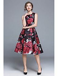 cheap -Women's Floral Black Dress Vintage Street chic Summer Party Going out A Line Swing Skater Floral S M High Waist