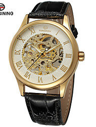 cheap -FORSINING Men's Skeleton Watch Wrist Watch Automatic self-winding Leather Black / Brown 30 m Hollow Engraving Analog Luxury Classic Vintage Casual Fashion - Gold / White Rose Gold / White Black