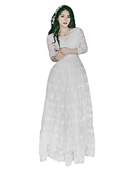 cheap -Princess Classic Lolita Elegant Vintage Inspired Dress Women's Girls' Lace Japanese Cosplay Costumes White Floral Vintage Lace Ankle Length / Classic Lolita Dress