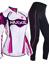 cheap -Nuckily Women's Long Sleeve Cycling Jersey with Tights Purple Gradient Bike Clothing Suit Thermal / Warm Windproof Breathable 3D Pad Anatomic Design Sports Polyester Fleece Lycra Gradient Mountain