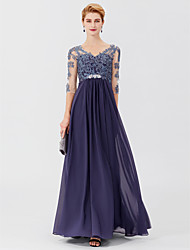 cheap -Ball Gown A-Line Mother of the Bride Dress Elegant Plus Size V Neck Floor Length Chiffon Sheer Lace 3/4 Length Sleeve with Crystals Appliques 2020
