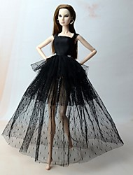 cheap -Doll Dress Dresses For Barbiedoll Polka Dot Lace Black (iPhone4) Linen / Cotton Blend Satin / Tulle Lace Dress For Girl's Doll Toy