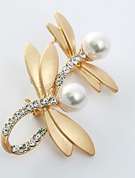 cheap -Women's Brooches Dragonfly Animal Ladies Sweet Imitation Pearl Imitation Diamond Brooch Jewelry Gold Silver For Daily
