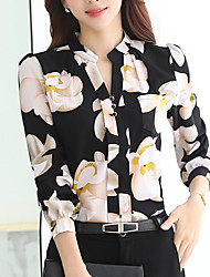 cheap -Women's Daily Weekend Shirt - Floral Crew Neck White / Spring