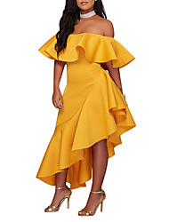 cheap -Women's Off Shoulder Party Club Street chic Asymmetrical Bodycon Sheath Dress - Solid Colored Backless Ruffle Boat Neck Spring Black Yellow Wine L XL XXL / Sexy / Slim