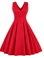 cheap -Women's Bow Red Dress Vintage Street chic Party Going out A Line Solid Colored Deep V Red M L