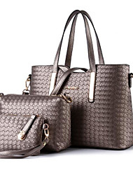 cheap -Women's Bags PU Leather Bag Set Top Handle Bag 3 Pcs Purse Set Zipper Solid Colored Handbags Daily Wine Black Silver