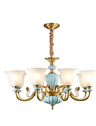 cheap -ZHISHU 8-Light 84 cm Adjustable Pendant Light Metal Glass Brass Traditional / Classic 110-120V / 220-240V
