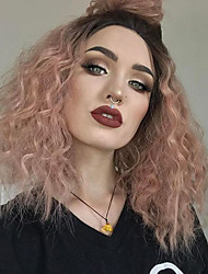 cheap -Synthetic Lace Front Wig Kinky Curly Kinky Curly with Baby Hair Lace Front Wig Medium Length Black / Rose Synthetic Hair Women's Red EEWigs