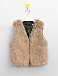 cheap -Women's Daily / Weekend Street chic Winter Plus Size Regular Vest, Solid Colored V Neck Sleeveless Faux Fur Stylish / Slim Black / White / Camel