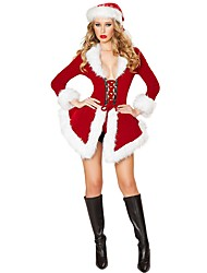 cheap -Santa Claus Mrs.Claus Costume Women's Christmas Festival / Holiday Polyster Red Women's Easy Carnival Costumes Solid Colored Holiday / Dress / Hat / More Accessories / Dress / More Accessories