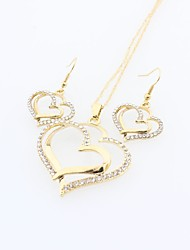 cheap -Women's Jewelry Set Heart Ladies Sweet Elegant Crystal Earrings Jewelry Gold For Daily Casual
