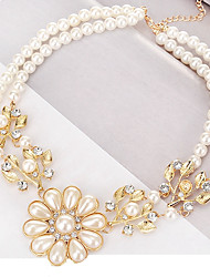 cheap -Women's Pendant Necklace Leaf Ladies Classic European Fashion Imitation Pearl Alloy Gold Necklace Jewelry For Daily Formal