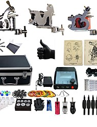 cheap -BaseKey Professional Tattoo Kit Tattoo Machine - 3 pcs Tattoo Machines, Professional LCD power supply 3 steel machine liner & shader / Case Included