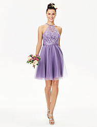 cheap -A-Line / Ball Gown Jewel Neck Short / Mini Tulle / Corded Lace Bridesmaid Dress with Appliques / Sash / Ribbon / Pleats