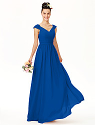 cheap -A-Line V Neck Floor Length Chiffon Bridesmaid Dress with Lace / Sash / Ribbon / Bow(s) / Open Back
