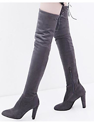 cheap -Women's Boots Over-The-Knee Boots Nubuck leather Over The Knee Boots Comfort / Fashion Boots Fall / Winter Black / Red / Gray / EU42