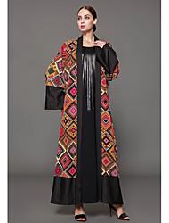 cheap -Women's Maxi Plus Size Orange Dress Sophisticated Spring, Fall, Winter, Summer Daily Jalabiya Geometric Print S M Loose