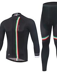 cheap -Men's Long Sleeve Cycling Jersey with Tights Black Solid Color Bike Clothing Suit Windproof Quick Dry Winter Sports Solid Color Mountain Bike MTB Road Bike Cycling Clothing Apparel