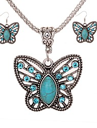 cheap -Women's Turquoise Drop Earrings Necklace Butterfly Ladies Elegant Vintage Fashion Elizabeth Locke Turquoise Earrings Jewelry Silver For Daily