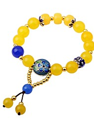 cheap -Women's Onyx Bead Bracelet Ladies Fashion Agate Bracelet Jewelry Yellow For Gift Going out