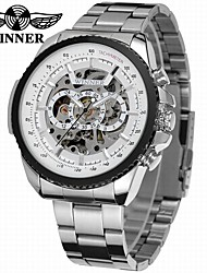 cheap -WINNER Men's Skeleton Watch Wrist Watch Mechanical Watch Automatic self-winding Stainless Steel Silver 30 m Hollow Engraving Cool Analog Luxury Classic Vintage Casual - White Black