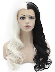Недорогие -Синтетические кружевные передние парики Естественные кудри Стиль Лента спереди Парик Черный / Белый Искусственные волосы Жен. Природные волосы Прямой пробор Черный Белый Парик Длинные