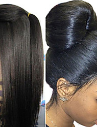 cheap -Human Hair Unprocessed Human Hair Lace Front Wig style Brazilian Hair Yaki Wig 130% Density 8-30 inch with Baby Hair Natural Hairline 100% Virgin Unprocessed Women's Long Human Hair Lace Wig EEWigs