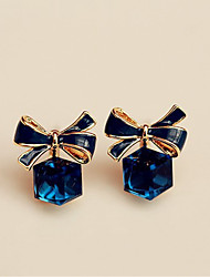 cheap -Women's Sapphire Crystal Stud Earrings Geometrical Ladies Sweet Elegant Crystal Earrings Jewelry Royal Blue For Party Gift